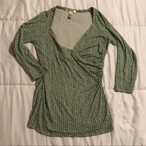 Banana Republic 3/4 sleeve  Stretch Wrap Top